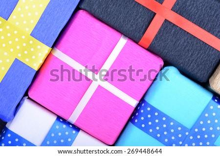 gift box set, holiday or wedding concept, birthday holiday theme - stock photo