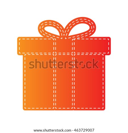Gift box sign. Orange applique isolated.