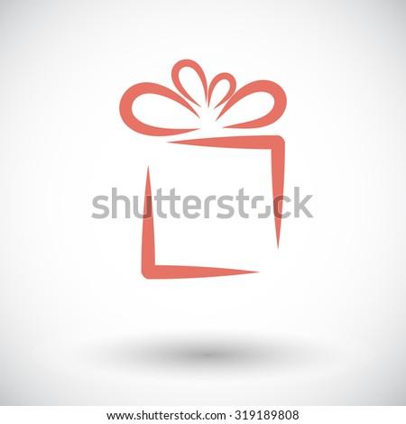 Gift box. Single flat icon on white background.  illustration. - stock photo