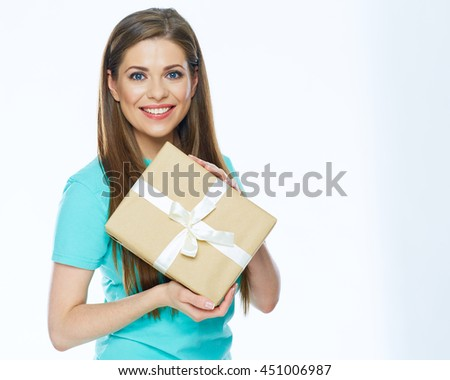 Gift box smiling woman holding. Isolated on white.