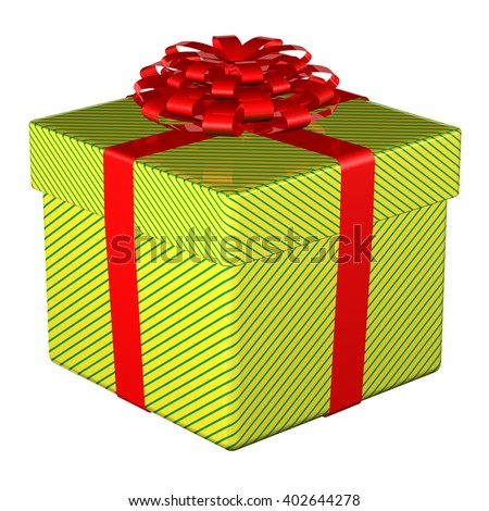 Gift box tied ribbon with a bow, isolated on white background. 3D illustration. - stock photo