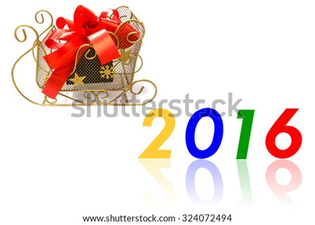 Gift box tied with a red bow for new year day.