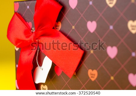 gift box Valentines Day. Studio shot on a white background with copy space - stock photo