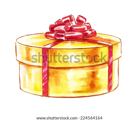 Gift box. Watercolor illustration. - stock photo