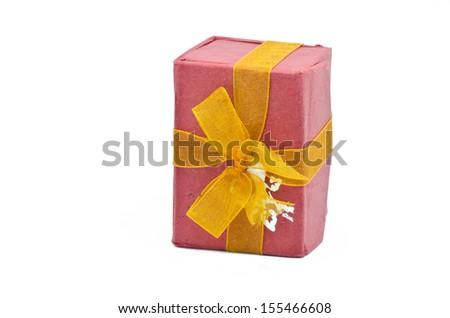 Gift box , white background - stock photo