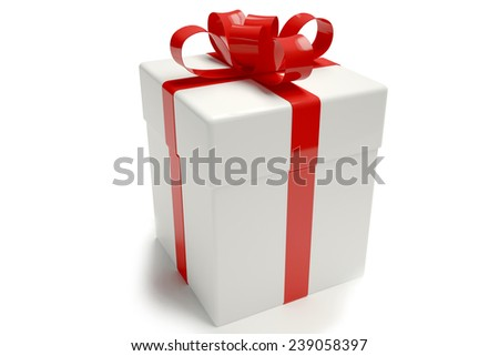 Gift box white. tied with a ribbon