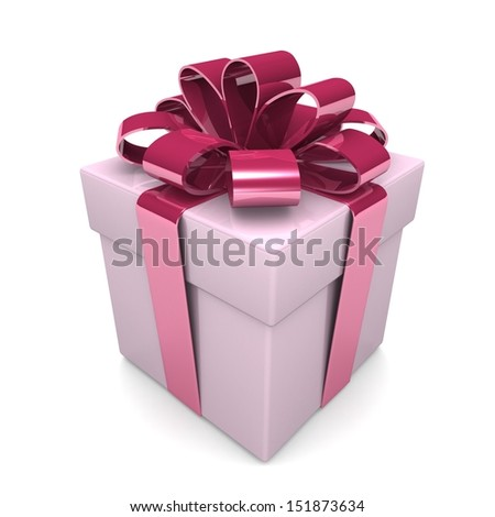 Gift box with a bright ribbon. Gift on a white background 3d illustration.