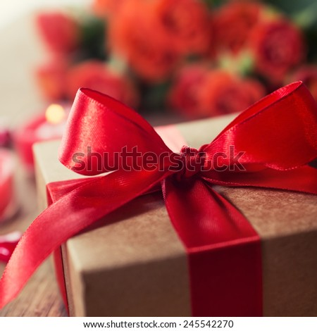 Gift box with a red ribbon,  Close-up