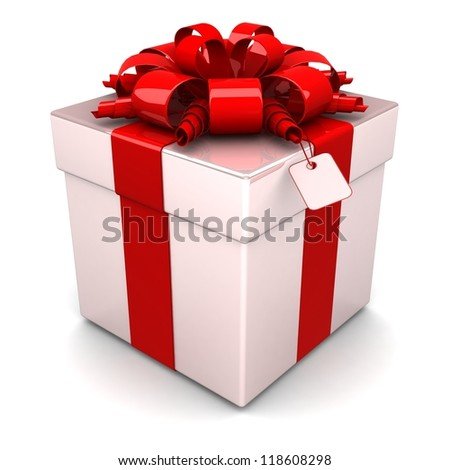 gift box, with a red ribbon like a present. over white background 3d illustration.