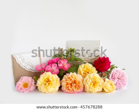 Gift box with beautiful English rose on white background