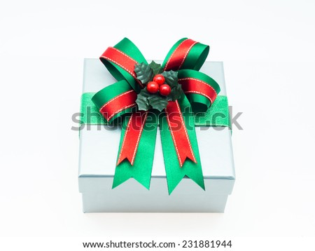 Gift box with big bow - stock photo