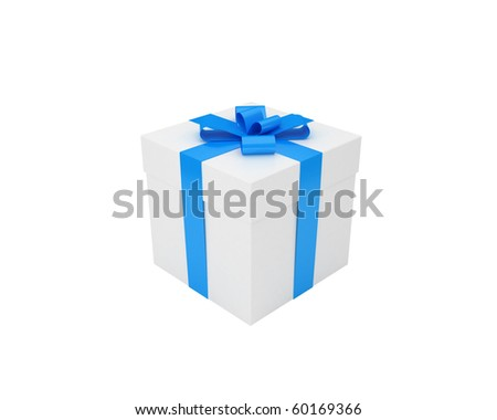 gift box with blue ribbon isolated on white - stock photo