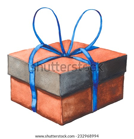 gift box with blue ribbon, watercolor illustration - stock photo
