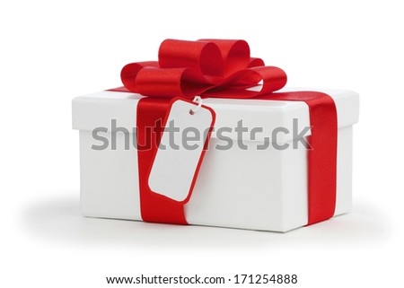 Gift box with bow and tag isolated on white background