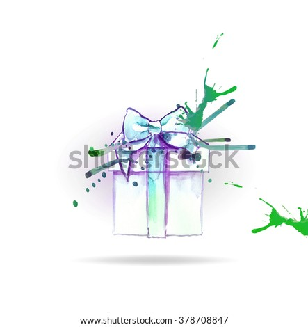 gift box with bow, watercolor illustration