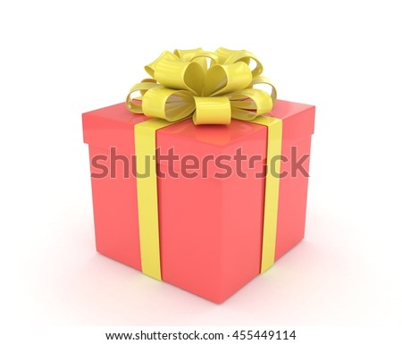 gift box with bows isolated on white. 3d rendering. - stock photo