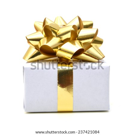 gift box with gold bow isolated on white background  - stock photo