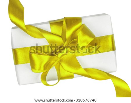 Gift box with gold ribbon and bow isolated on the white background - stock photo