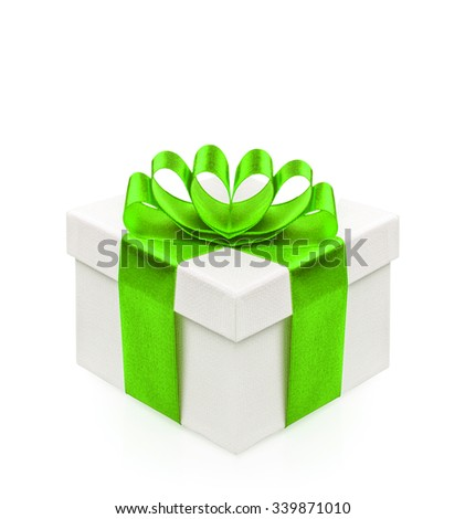Gift box with green ribbon bow isolated on white background. Holidays decoration