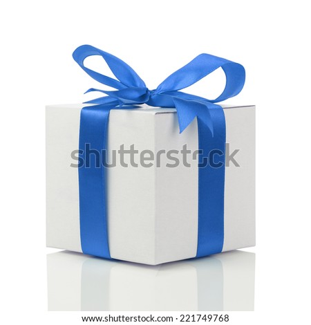 gift box with handmade blue ribbon bow, isolated on white