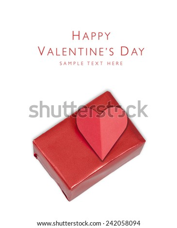 Gift box with Heart shape from paper Happy Valentines day, isolated on a white background, with place for your text - stock photo