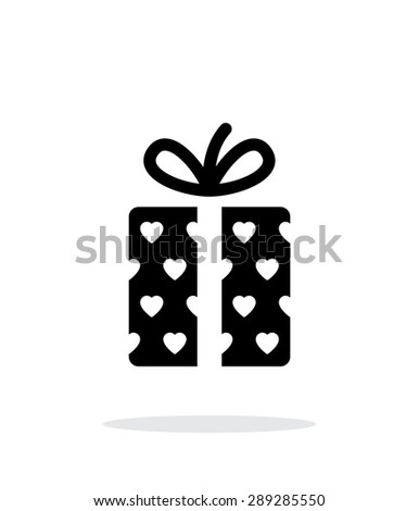 Gift box with hearts icons on white background. - stock photo