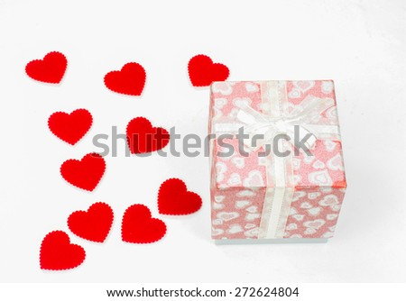 gift box with lots of cute little heart inside on white  background.