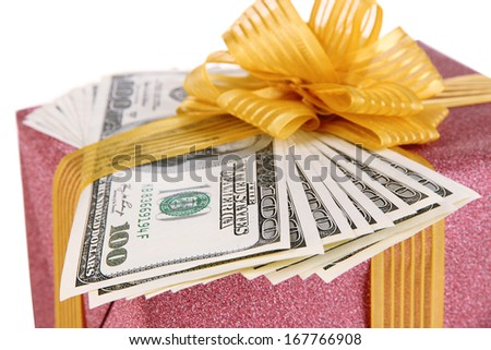 Gift box with money close up - stock photo