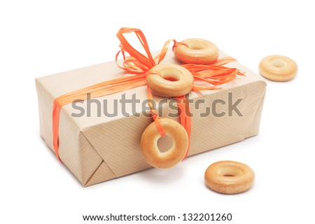 gift box with orange ribbon. isolated on white background. used in the design of a bagel.