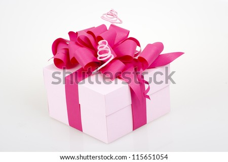 gift box with pink ribbon bow - stock photo