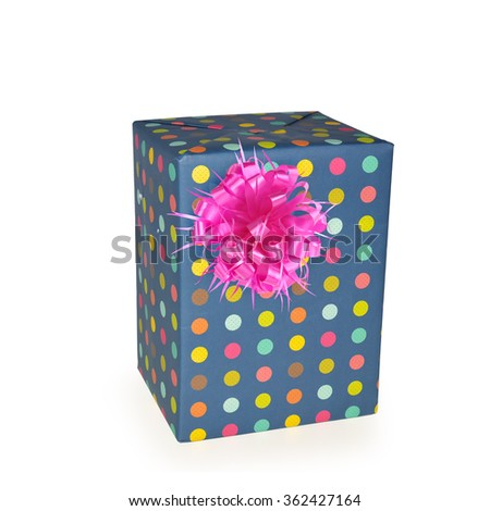 Gift box with pink ribbon isolated on white background. Thai has clipping path.