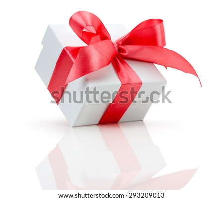 gift box with red bow isolated on the white background
