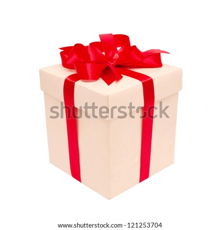 Gift box with red bow isolated on white background with clipping path - stock photo