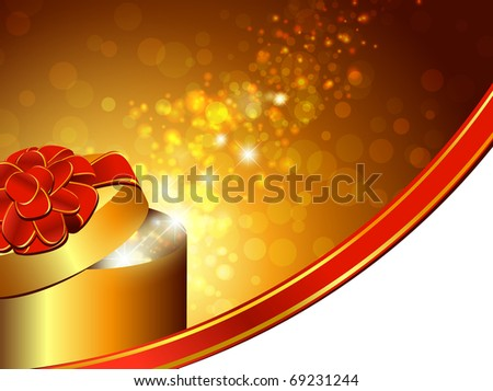 gift box with red bow over bright holiday background - stock photo
