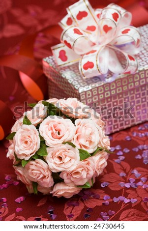 gift box with red heart and flowers