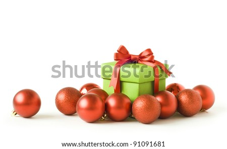 gift box with red new year balls