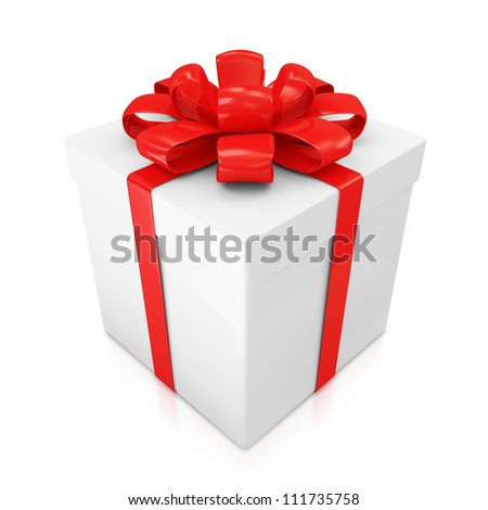 Gift Box with Red Ribbon and Bow isolated on white background