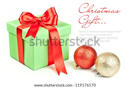Gift box with red ribbon bow - stock photo