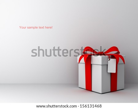 Gift box with red ribbon bow and blank tag on empty white wall background abstract - stock photo