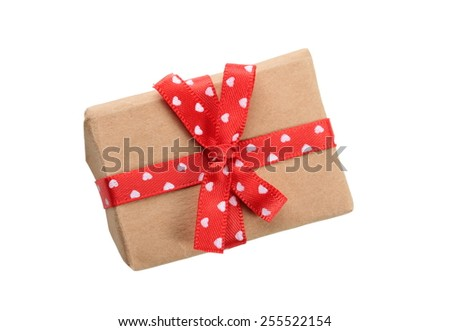 gift box with red ribbon bow, isolated on white - stock photo