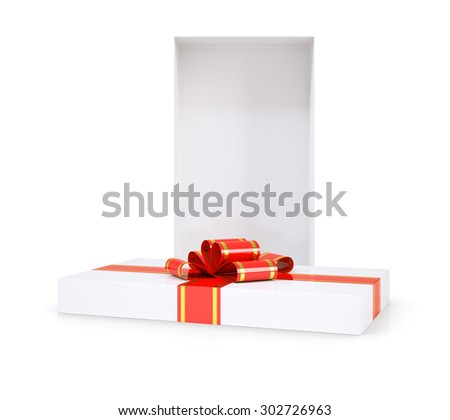 Gift box with red ribbon on isolated white background