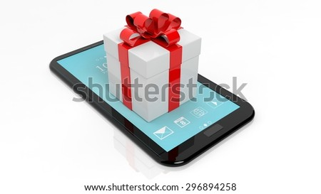 Gift box with red ribbon on tablet isolated on white background - stock photo