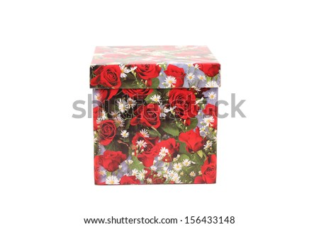 Gift box with red roses.  Isolated on a white background - stock photo