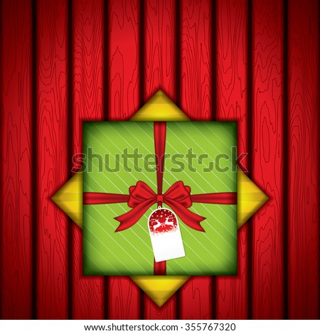 Gift box with red wood texture - stock photo
