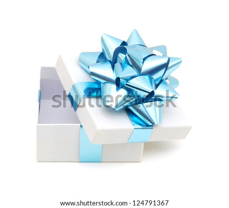 Gift box with ribbon and bow isolated on the white background.