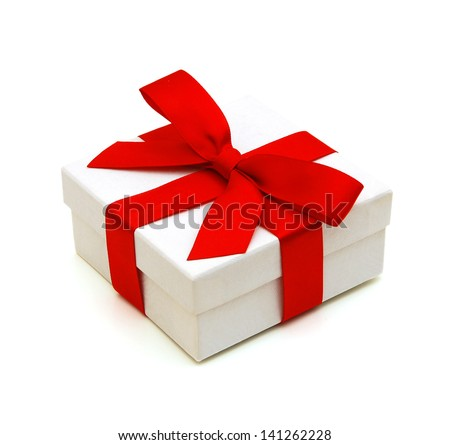 Gift box with ribbon and bow isolated on the white background, clipping path included. - stock photo