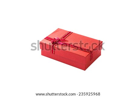 Gift box with  ribbon and bow isolated on the white, clipping path included - stock photo