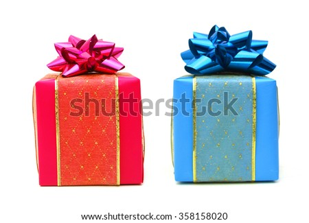 gift box with ribbon bow. Holiday present. Object isolated on white background.  - stock photo