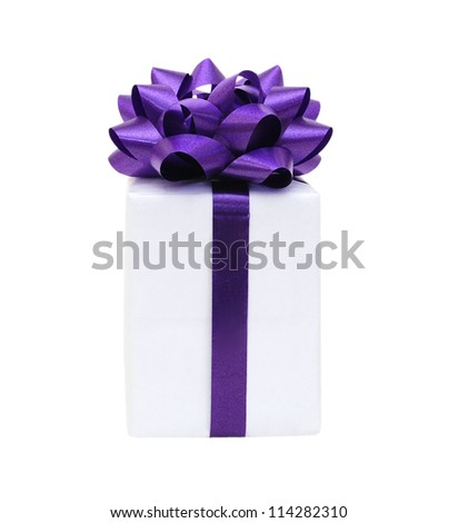 Gift box with ribbon end bow isolated on the white background, clipping path included. - stock photo