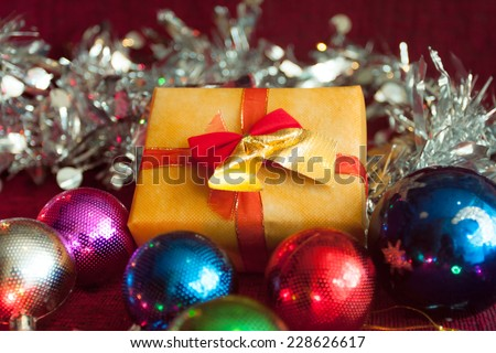 gift box with shiny ball decorate on table. . for Christmas and Happy new year.